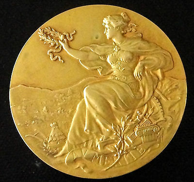 Art Nouveau Bronze Medal- Lovely Lady Marianne Holding A Laurel -Beehive