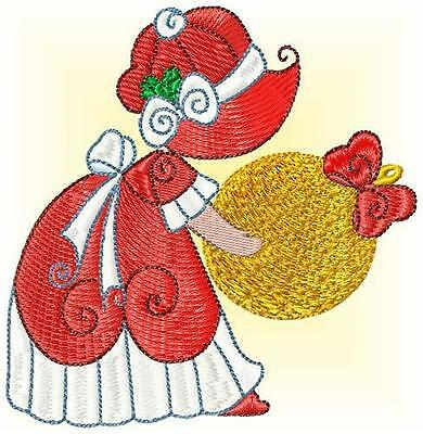 Sunbonnet Christmas 10 Machine Embroidery Designs 2 Sizes Included