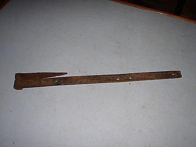 """Antique 25"""" Blacksmith Hand Forged Iron Barn Strap Hinge With Pintle"""