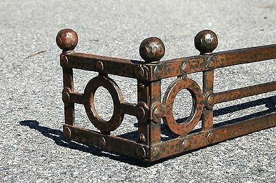"""Mission hammered Bronze Iron Ball top Fireplace FENDER GUARD SURROUND 42""""L 1900s • CAD $438.97"""