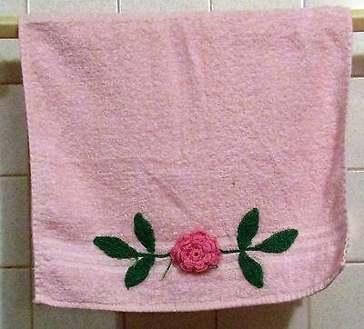 Vintage Pink Cotton Hand Towel with Crochet Rose