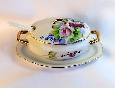 Lovely VINTAGE Japan Lefton China Roses Daisy Flowers Sugar Bowl w/Lid & Spoon