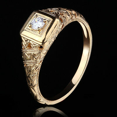 Special! Silver 925 Round 3mm CZ  Women Fine Vintage Antique Wedding GEM Ring