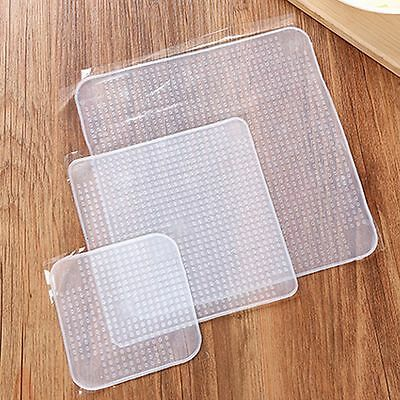 3xSilicone Wraps Reusable Seal Cover Stretch Cling Film Food Fresh Kitchen Tools