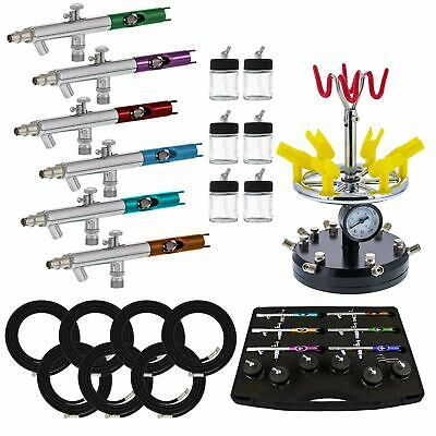 6 AIRBRUSH STATION-AIR BRUSH-Auto/Car Paint-Nail-Tattoo