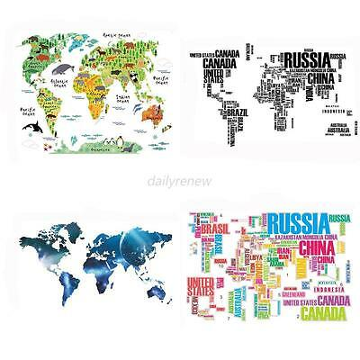 Letter World Map Stickers Removable Art Decal Mural Home Decor Wall Stickers