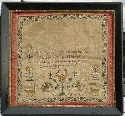 Geo IV 1828 Needlework Tapestry Picture Sampler in c1830 Frame Ann Peters 1828