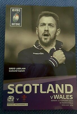 Scotland v Wales 15 Feb 2015 Murrayfield RUGBY PROGRAMME