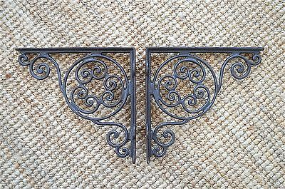 "Pair of antique swirl cast iron wall shelf brackets bracket 9"" x 9 1/2"" AL28"