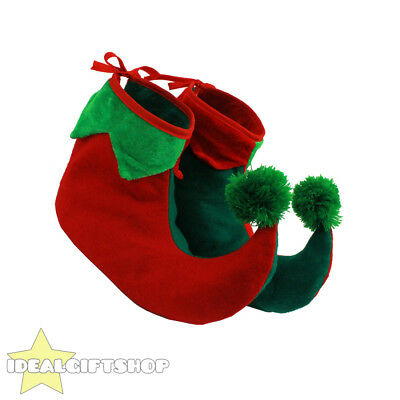 Childs Elf Boots Shoe Covers Xmas Pixie Jester Slippers Christmas Fancy Dress
