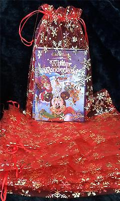 20 X LARGE CHRISTMAS RED WITH GOLD SNOWFLAKE  ORGANZA GIFT FAVOUR BAGS 20cmX30cm