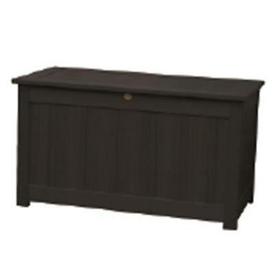 Highwood USA Synthetic Wood Large Deck & Patio Storage Box in Black Color
