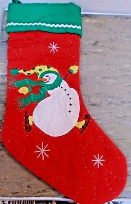 """Christmas Stocking Quilted Snowman 19"""""""