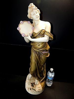 "Large Art Nouveau Ceramic Statue of a Royal Dux Thumbeline Lady 29"" Inches"