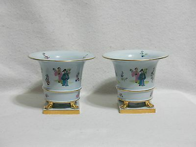 Herend Csung Chinoiserie Asian Figures on Footed Cache Pots (2) Crown Backstamp