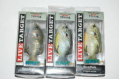 """3 lures koppers live target surface lure sunfish 3"""" 7/16oz topwater assortment"""