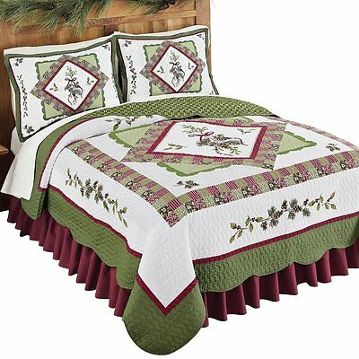 Rustic Holiday 3 Pc Cabin Woods Christmas King Size Quilt Bedding Set NEW