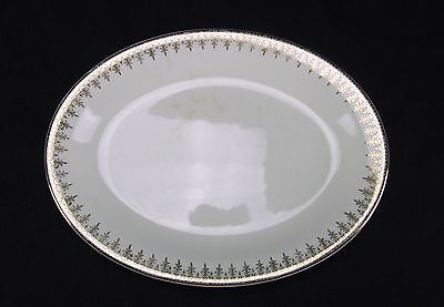"""W S George Derwood Oval Serving Platter 11"""" 22k Ivory Gold Accents USA"""
