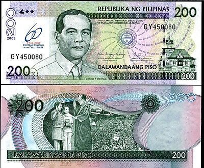 Philippines 200 Pesos 2009 60 Year Central Bank Comm. P 201 Unc