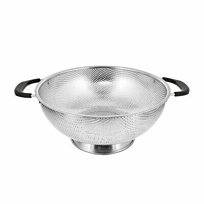 """U.S. Kitchen 5 Quart 11"""" Stainless Steel Micro Perforated Colander Strainer Bowl"""