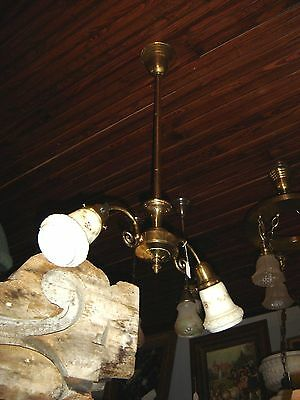 Antique Two-Arm Brass Light Fixture with Milk Glass Shades    7845
