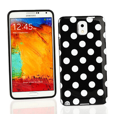 TPU Gel Case+Car Charger+...for Samsung Galaxy Note 3-Black/White Polka Dots