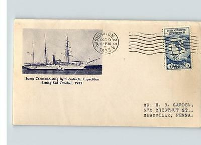 BYRD Antarctic Expedition, 1933 # 733 First Day of Issue, pic Ship Setting Sail,