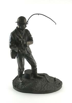 Heredities Cold Cast Bronze Resin Figure of Fly Fisherman   Signed David Hermes