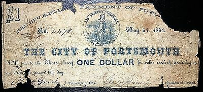 US CONFEDERATE CIVIL WAR CURRENCY: May 21 1861 Portsmouth $1 Note, COMBINED S/H