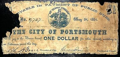 US CONFEDERATE CIVIL WAR CURRENCY: May 21 1861 Portsmouth $1 Note : COMBINED S/H