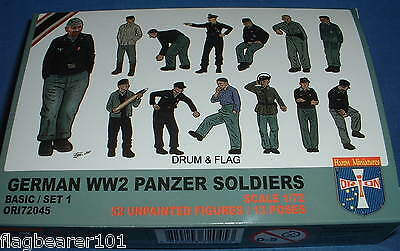 Orion 72045 Ww2 German Panzer Soldiers. 1/72 Scale Unpainted Plastic