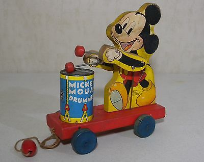 476 Mickey Mouse Drummer Boy Pull Toy Walt Disney Fisher Price VTG Wood