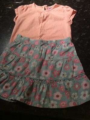 cord skirt blue pink flowery peach tshirt top age 3-4 years outfit pretty girls