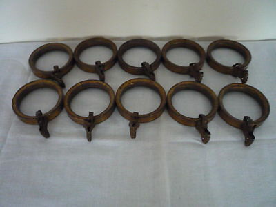 Set Of 10 Antique Vintage French Hollow Metal Curtain Rings With Spring Clips