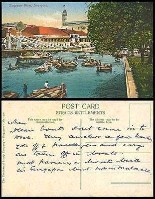 Singapore River Scene Bridge Native Cargo Boat Ship Chandler Old Colour Postcard