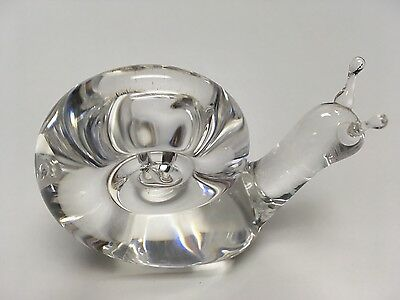 """STEUBEN 2.5"""" Crystal Snail Paperweight Decorative Figurine MINT Condition"""
