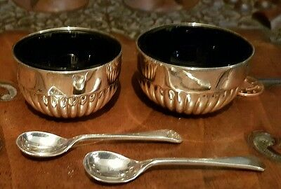 Antique Large Victorian Pair Of Solid Sterling Silver Open Salts Cruet & Spoons
