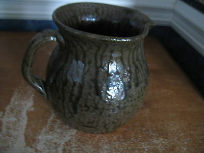"""Cleater Meaders Pitcher Brown Tobacco Spit Glaze 1988 Georgia Pottery EUC 6.75"""""""