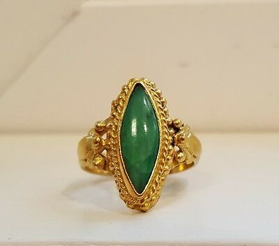 Antique Chinese 22k Solid Yellow Gold Natural Apple Green Jade Ring