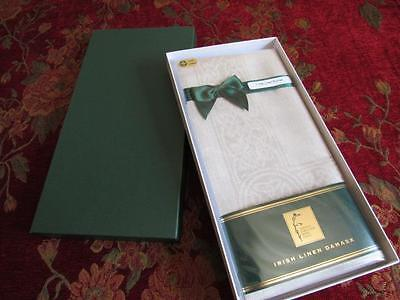 NIB Vtg IRISH Linen Damask Table RUNNER 12x72 Natural Color CELTIC KNOT Border