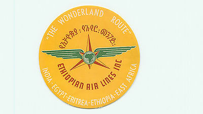 Ethiopian Airlines Wonderland Route Old Aviation Luggage Label