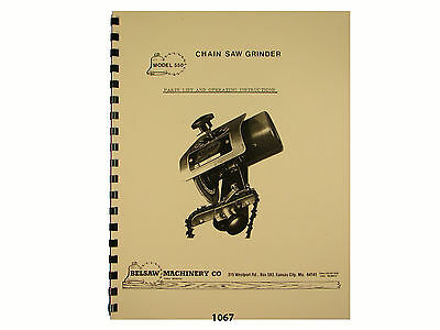 Foley Belsaw  Model 550 Chain Saw Grinder Owners Manual * 1067
