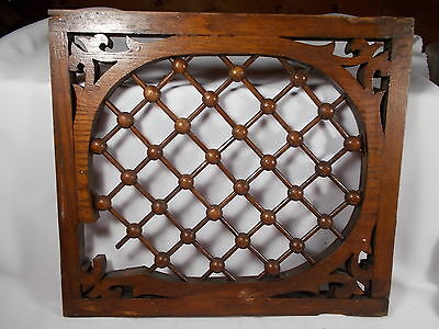 Antique Victorian Oak Fretwork Stick & Ball original 14 by 16 inches circa 1890s