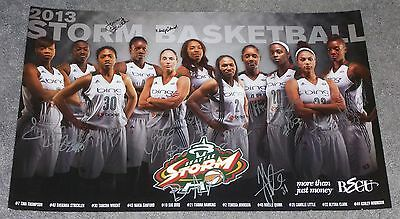2013 SEATTLE STORM TEAM SIGNED POSTER WNBA BASKETBALL SUE BIRD 14x22 inches