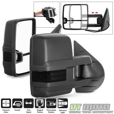 [Updated Style] 07-13 Silverado Sierra Power+Heated+Smoke LED Signal Tow Mirrors