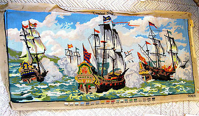 French Tapestry 2068 COMBAT NAVAL SHIPS scene Wall Hanging  @44x19""