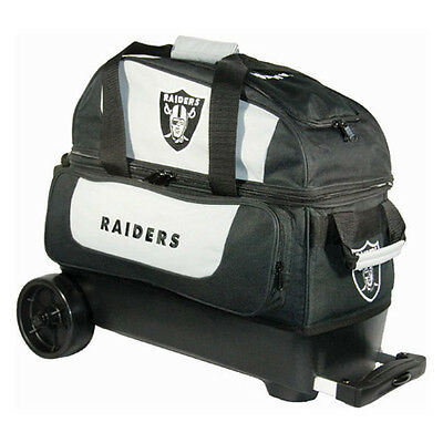 New NFL Oakland Raiders 2 Ball Roller Bowling Bag Free Shipping