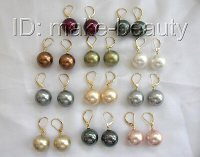 wholesale 11pair 16mm round gray south sea shell pearls dangle earrings 14K b783