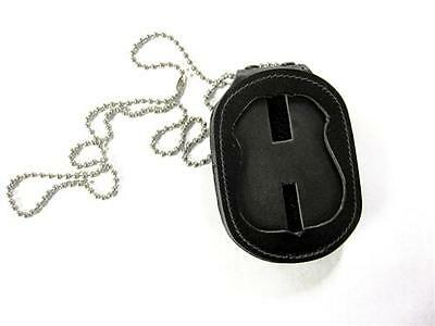 Strong Leather 81137-0852 Black Badge Holder/Case Recessed Clip-On w/ Chain