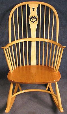 Ercol Elm & Beech Windsor Chairmakers Millennium Swan Back Rocking Chair